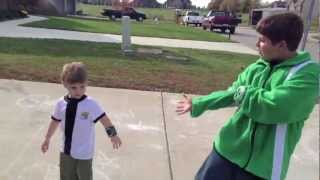 Real Life Ben 10 HeatBlast & SpiderMonkey vs: 2 Evil Bad Guys!