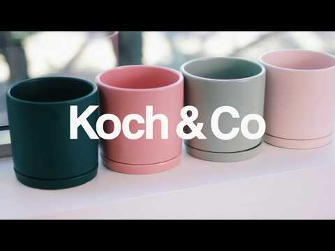Ceramic Loreto Plant Pot & Plate Sea Foam (18Dx18.5cmH)