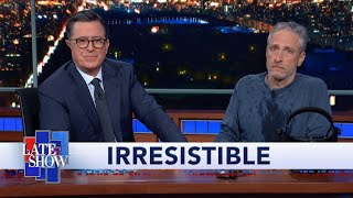 Jon Stewart Climbs Out From Under Colbert's Desk To Debut  Irresistible  Movie Trailer