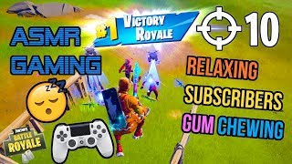 ASMR Gaming 😴🎮 Fortnite Relaxing Subscriber Squad 10+ Kills Gum Chewing 🎧 Controller Sounds 💤