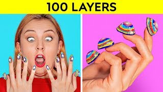 100 LAYERS CHALLENGE || 100 Layers of Makeup || Ultimate 100+ Coats by 123 GO! CHALLENGE