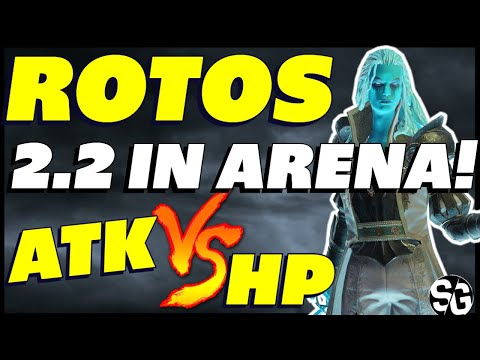 Rotos 2.2 Arena & testing HP vs ATK on him. Raid shadow legends Rotos guide Rotos after 2.20
