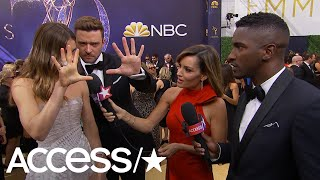 Justin Timberlake & Jessica Biel Send A Secret Signal To Son Silas On The 2018 Emmys Carpet