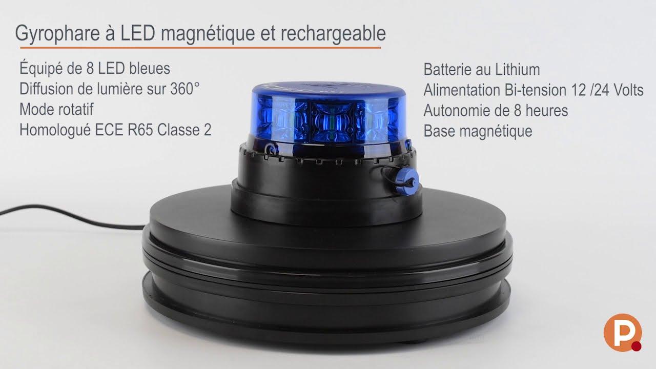Gyrophare à leds magnétique rechargeable