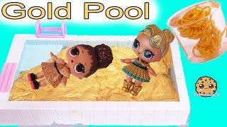 LOL Surprise Dolls Swim In Gold Water ? Golden Metallic DIY Slime Craft Kit