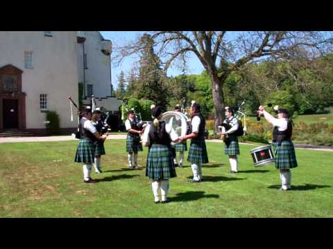 Marching Forfar And District Pipe Band Cortachy Castle Gardens Angus Scotland May 27th
