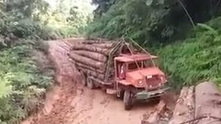 slippery downhill road | Amazing Logging Truck |