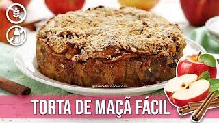 TORTA DE MAÇÃ SUPER FÁCIL SEM FARINHA FIT
