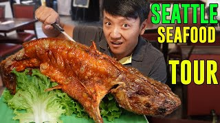FIVE POUND Fried Catfish! SEAFOOD Tour of SEATTLE width=