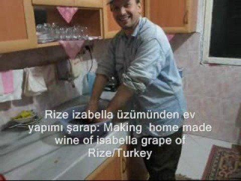 izabella üzümünden kırmızı şarap yapımı