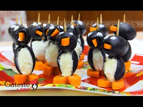 Cum se prepara Aperitiv Pinguini din Masline si Crema de Branza