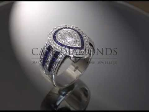 Complex stone ring,pear shaped diamonds,round white and blue diamonds,platinum,engagement ring