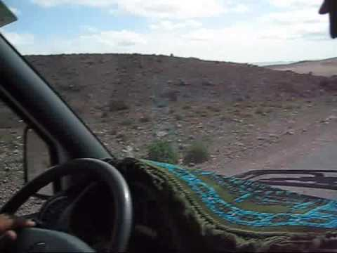 Driving in the Moroccan Desert.