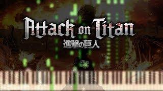 Guren no Yumiya OP - Shingeki no Kyojin - 50% Speed Synthesia Piano Tutorial