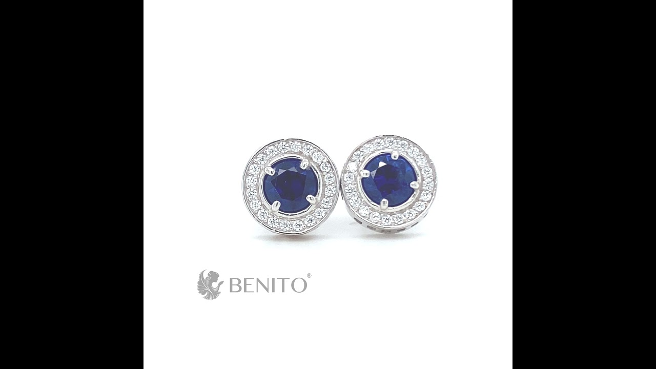 Viola StudEarrings Blue Spinel and White Zircon Stones