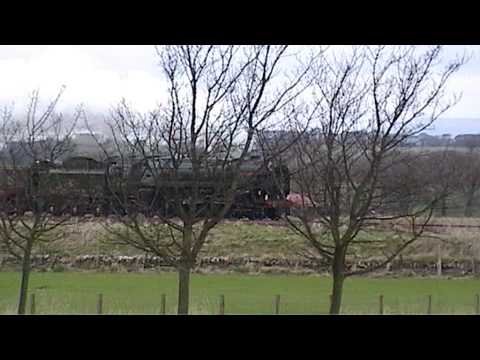 "Britannia 70013 ""Oliver Cromwell"" on Forth Circle railtour at Philpstoun, West Lothian"