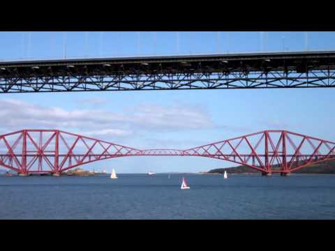 Sailing Boats Forth Bridges Firth Of Forth Scotland April 1st
