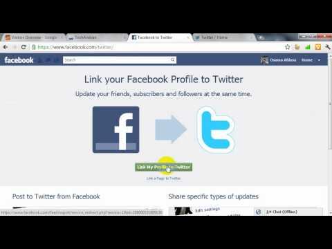 كيفية ربط صفحة على الفيس بوك ب التويتر .