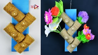 DIY Wall Hanging Flowers Vase Using Jute - Wall Decoration Craft With Rope