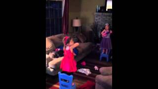 Sweet sisters singing Frozen song