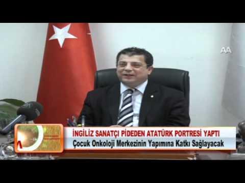 İNGİLİZ SANATÇI PİDEDEN ATATÜRK PORTRESİ YAPTI 29.02.2012.wmv