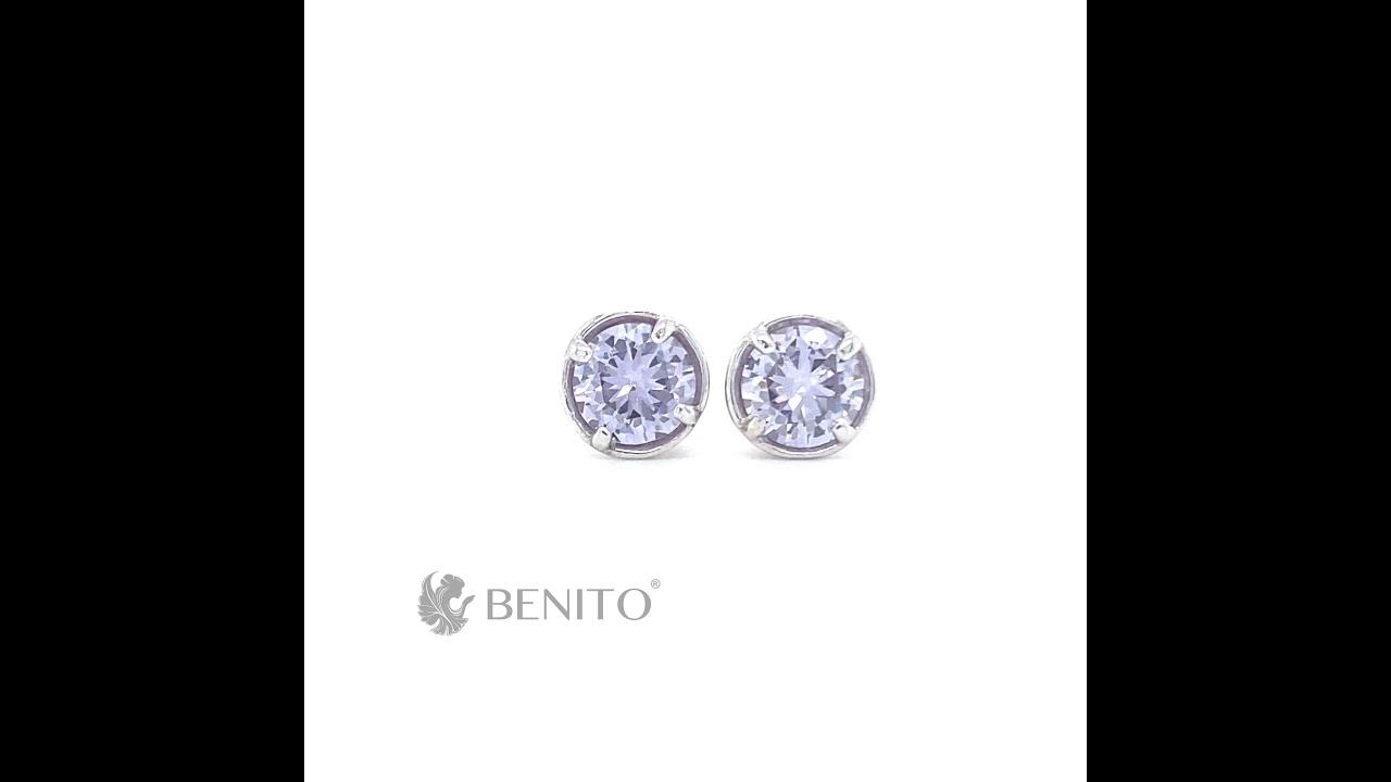Emma Earrings Purple Zircon Stone