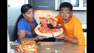 COOKING WITH DK4L | HOW TO MAKE A JUMBO FLAMIN' HOT CHEETOS PIZZA