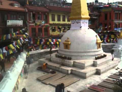 Temple in Nepal watching people pray