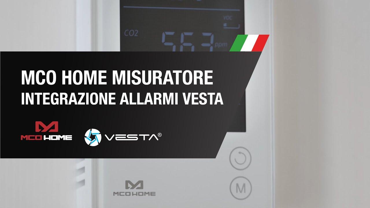 Misuratore di CO2, temperatura e umidità di MCO HOME e Integrazione della Allarme VESTA