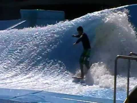 D-Rex and Flowrider surfing at Wave House in Durban South Africa