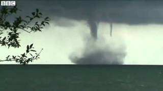 BBC News   Lake Michigan waterspouts 'not expected to hit land'