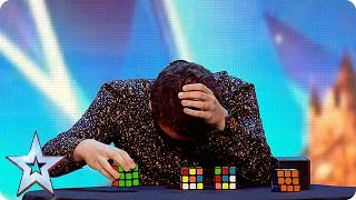 Watch Flavian solve three Rubik's Cubes…BLINDFOLDED!  | Britain's Got More Talent 2016 width=