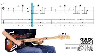 Red Hot Chili Peppers Can't Stop Slap Bass Lesson with TABS