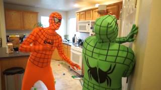 Green Spiderman & Orange Spiderman Vs Godzilla  T rex In Real Life Superhero Prank! 2016 new
