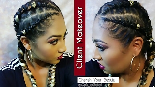 Client Makeover| Quick Multicolored Feed-In Stitch Braids