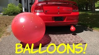 Putting Balloons on Dodge Charger Exhaust Pipes - #BalloonChallenge