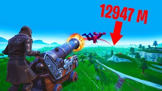 How FAR Can You FLY FROM A CANNON?! (Fortnite Season 8)