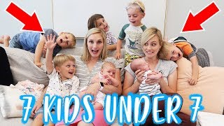 24 HOURS WiTH 7 KiDS UNDER 7 YEARS OLD! | Ellie And Jared width=
