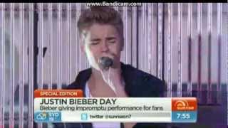 Justin Bieber singing Fall and Love Me Like You Do live on Sunrise.