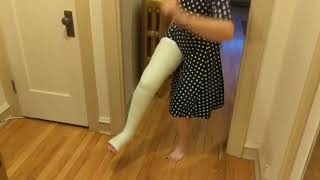 Roxanne's long leg cast!