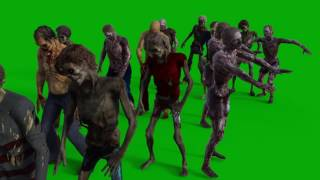 Greenscreen Footage   Zombie Group walking by 1