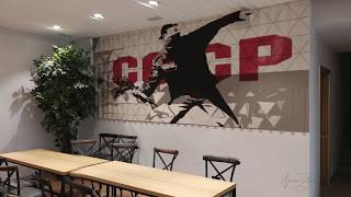 Rage Against Junk Food  Restaurant Banksy Style Mapping  Moscow 2018