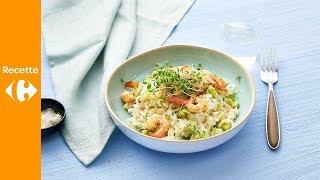 Risotto de poireaux aux crevettes