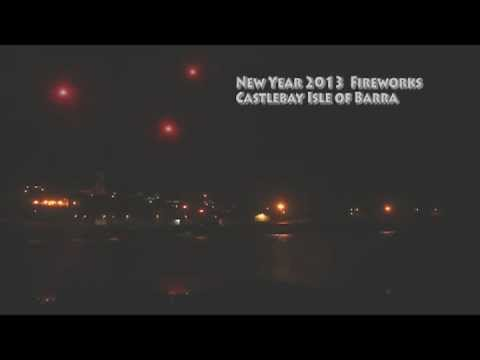 New Year 2013 Fireworks Castlebay Barra Scotland