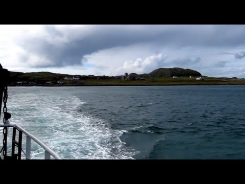Crossing from Iona to Mull (Fionnphort) on Passenger Ferry – Island views and views of Iona Abbey