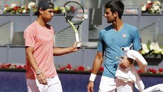 Novak Djokovic Meets Rafael Nadal on Practice - Madrid 2017 (HD)