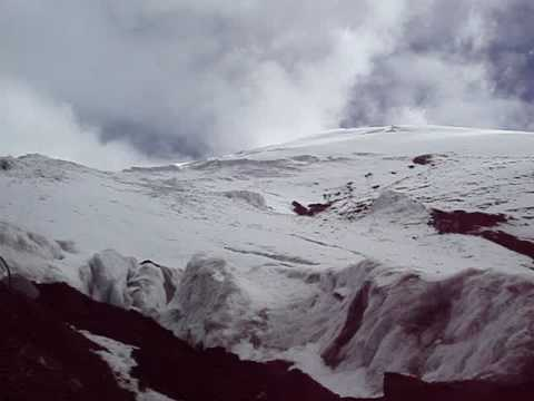 View of Cotopaxi volcano Glacier and Limpiopungo valley