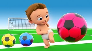 Learn Colors with 3D Balls for Children, Toddlers and Babies - Colours with Baby Play Soccer Balls width=
