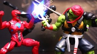 Spiderman in Power Rangers vs TMNT Teenage Mutant Ninja Turtles Stop Motion Action Video Part 1 toys