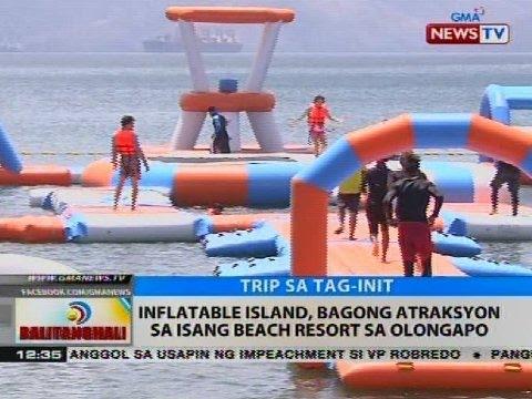 Inflatable Island Bagong Atraksyon Sa Isang Beach Resort Sa Olongapo Video Gma News Online